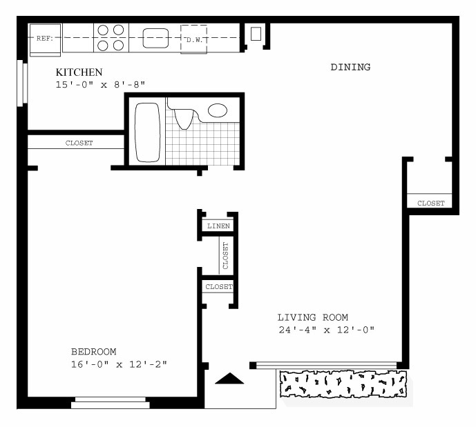 Willow Lake Model C First Floor One Bedroom One Bath Floorplan